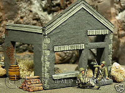 """RETIRED"" Pro Built - Hand Painted & Weathered 1:35 WWII Custom German Workshop Ruin"