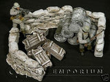 """RETIRED & BRAND NEW"" Build-a-Rama 1:32 Hand Painted WWII ""Winter"" Sandbag Wall Set (3 Piece Set)"