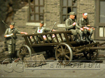 """BRAND NEW"" Custom Built & Hand Painted 1:35 WWII German Wooden Cart w/ 5 Soldiers"