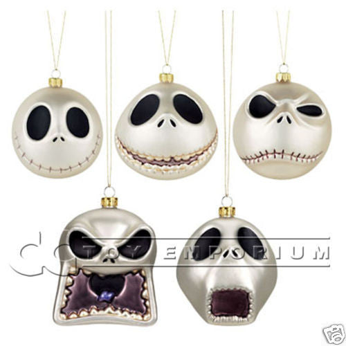 "Very RARE & SOLD OUT ""Disney Exclusive"" Nightmare Before Christmas Hand Blown Mercury Glass Ornament Set (5) MINT In MINT Box"