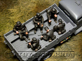 """BRAND NEW"" Custom Built - Hand Painted & Weathered 1:35 WWII German ""SS Infantry Sitting"" (6 Figure Set)"