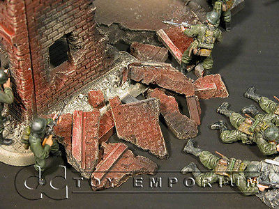 """RETIRED & BRAND NEW"" Build-a-Rama 1:32 Hand Painted WWII Deluxe Building  Rubble Set"