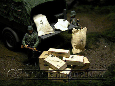 """RETIRED & BRAND NEW"" Build-a-Rama 1:32 Scale Hand Painted WWII German Supply Set  (9 Piece Set)"