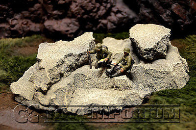 """RETIRED & BRAND NEW"" Build-a-Rama Deluxe Custom Built 1:32 Hand Painted WWII Large Resin Rock Formation #1"