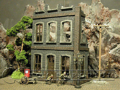 """RETIRED"" Pro Built - Hand painted & Weathered Verlinden 1:35 WWII Custom 3 Story Home Ruin"