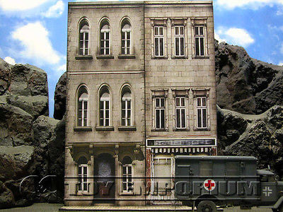 """BRAND NEW""  Build-a-Rama Deluxe WWII ""Photo Real"" Color Facade #1 w/Sidewalk Set"