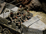 """BRAND NEW"" Custom Built - Hand Painted & Weathered 1:35 WWII German Half Track Riders (6  Figure Set)"