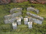 """BRAND NEW"" 1:32 Custom Painted Deluxe Stone Wall w/Posts Exclusive Set (10 Piece Set)"