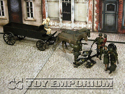 """BRAND NEW"" Custom Built - Hand Painted & Weathered 1:35 WWII US Soldier Set ""Hold UP"" w/ Wooden Cart & Horses (6 Figure Set)"