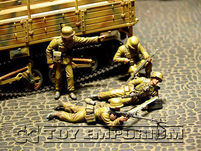 """BRAND NEW"" Custom Built - Hand Painted & Weathered 1:35 WWII German Afrika Korps Panzergrenadiers  El Alamein Set  (4 Figure Set)"