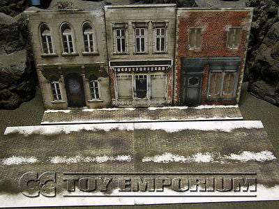 """BRAND NEW""  Build-a-Rama Deluxe WWII ""Photo Real"" Winter Cobble Stone Road Set (2 Piece Set)"