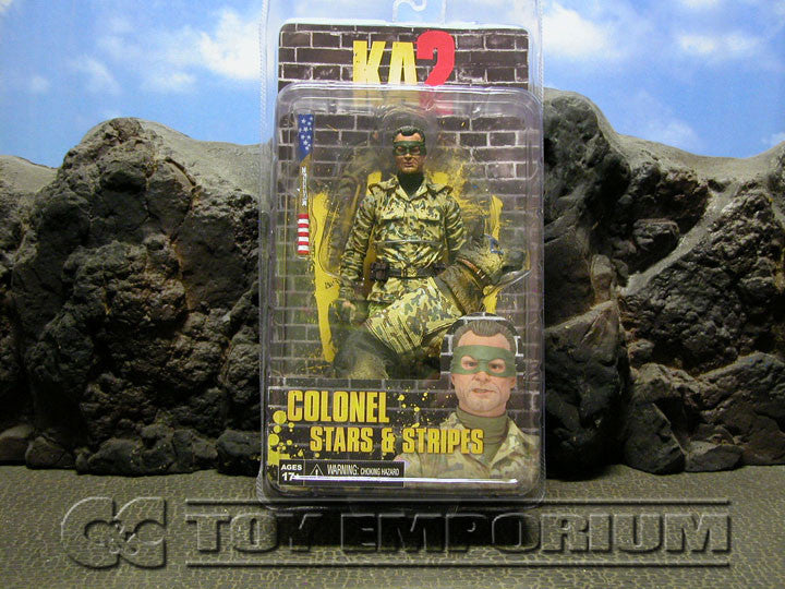 """BRAND NEW & SOLD OUT"" NECA Kick Ass 2 Series 2 Colonel Stars & Stripes Without Hood Variant & Eisenhower The Dog Action Figure Set (1) MINT On Card"