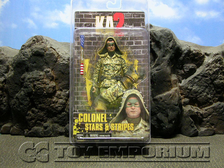 """BRAND NEW & SOLD OUT"" NECA Kick Ass 2 Series 2 Colonel Stars & Stripes With Hood & Eisenhower The Dog Action Figure Set (1) MINT On Card"