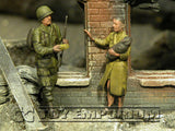 """BRAND NEW"" Custom Built - Hand Painted & Weathered 1:35 WWII US ""101st Paratrooper & Woman With Baby, France, 1944"" Soldier Set (2 Figure Set)"