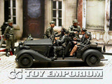 """BRAND NEW"" Custom Built - Hand Painted & Weathered 1:35 WWII German ""SS Officer's Staff Car"" Soldier Set  (8)"