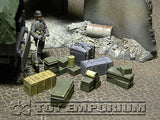 """RETIRED & BRAND NEW"" Build-a-Rama 1:32 Hand Painted WWII Deluxe Crate, Gear & Box Set (7 Piece Set)"