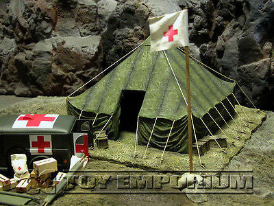 """RETIRED & BRAND NEW"" Build-a-Rama 1:32 Scale Hand Painted WWII Field Hospital Flag Pole Set"