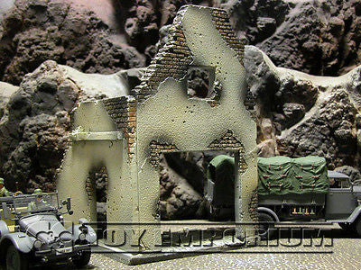"""RETIRED & BRAND NEW"" Build-a-Rama 1:32 Hand Painted WWII Deluxe 2 Story Garage Ruin w/ 2nd Floor & Base"