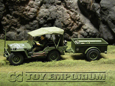 """RETIRED"" Forces Of Valor 1:32 Scale WWII US Willy's Jeep & Trailer - Normandy 1944'"