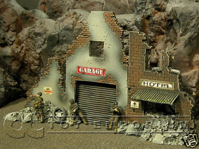 """RETIRED & BRAND NEW"" Build-a-Rama 1:32 Hand Painted WWII Deluxe Street Front Facade Ruin Set (2 Piece Set)"