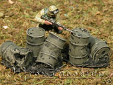 """RETIRED & BRAND NEW"" Build-a-Rama 1:32 Hand Painted WWII Destroyed Drums Set (2 Piece Set)"