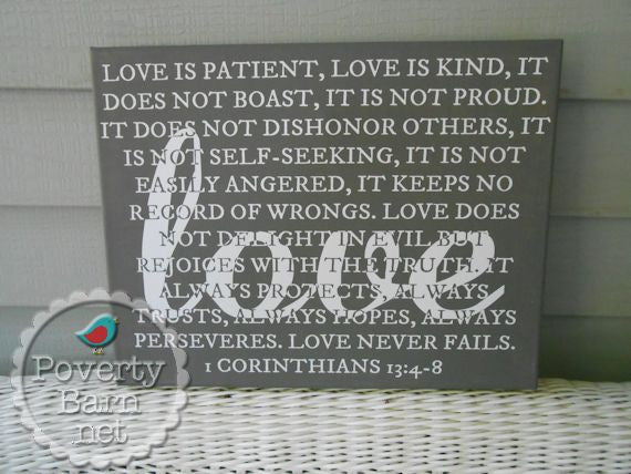 1 Corinthians Love Verse Canvas Design -Canvas Designs -PovertyBarn - 1