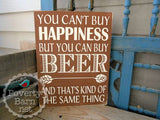 Beer and Happiness Hand Painted Wood Box Style Sign -Box Style Signs -PovertyBarn - 6