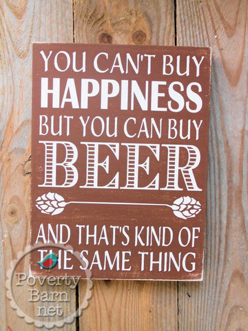Beer and Happiness Hand Painted Wood Box Style Sign -Box Style Signs -PovertyBarn - 1