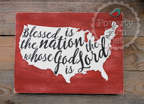 Blessed is the Nation Hand Painted Wood Box Style Sign -Box Style Signs -PovertyBarn - 1