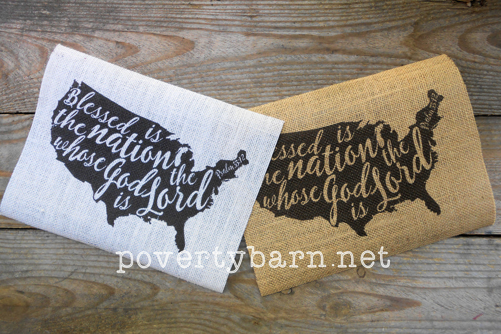 Blessed is the Nation Burlap Print -Burlap Prints -PovertyBarn - 1