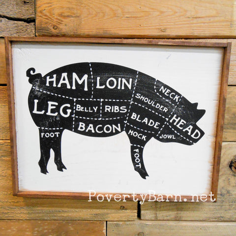 Pig Butcher Cuts Vintage Look Farm Style Sign