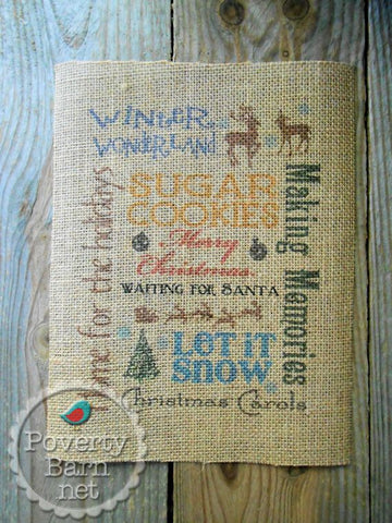 Christmas Subway Art Burlap Print -Burlap Prints -PovertyBarn - 1