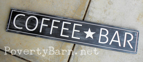 Coffee Bar Hand Painted Wood Plank Sign -Plank Signs -PovertyBarn