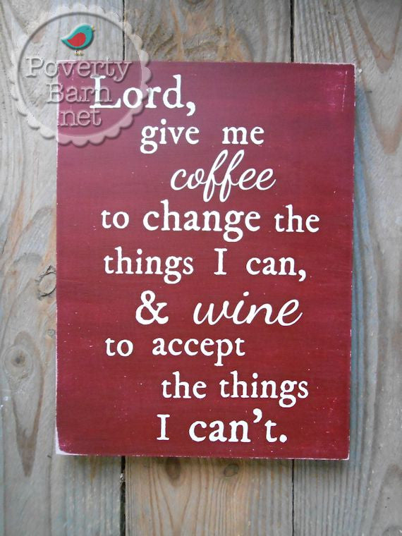 Coffee and Wine Prayer Hand Painted Wood Box Style Sign -Box Style Signs -PovertyBarn - 1