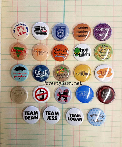 Gilmore Girls Pin Back Buttons and Magnets -Everything Else -PovertyBarn - 1