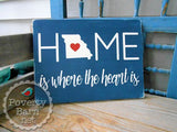 Home is Where the Heart is with State Hand Painted Wood Box Style Sign -Home State Box Signs -PovertyBarn - 6