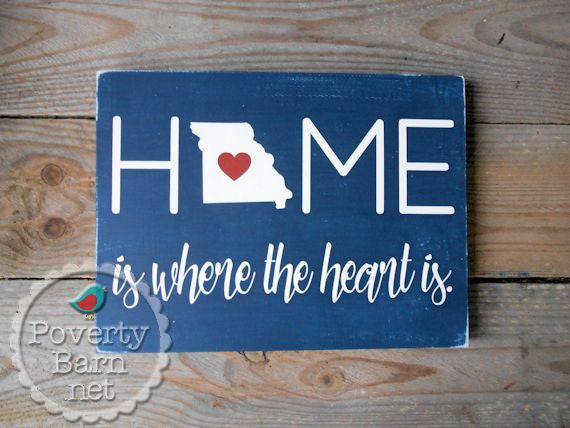 Home is Where the Heart is with State Hand Painted Wood Box Style Sign -Home State Box Signs -PovertyBarn - 1