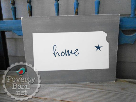 Kansas Home Star Hand Painted Wood Box Style Sign -Home State Box Signs -PovertyBarn - 1