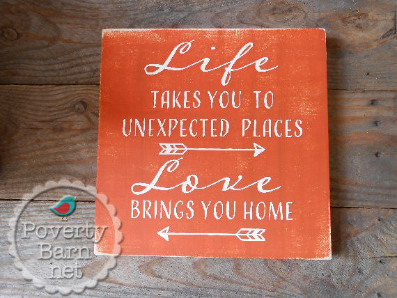 Love Takes You Home Hand Painted Wood Box Style Sign -Box Style Signs -PovertyBarn - 1