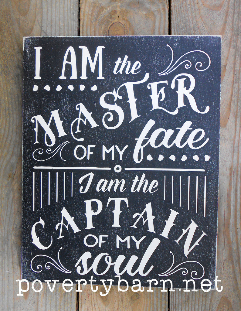 Master of My Fate Captain of My Soul Hand Painted Wood Box Style Sign -Box Style Signs -PovertyBarn - 1