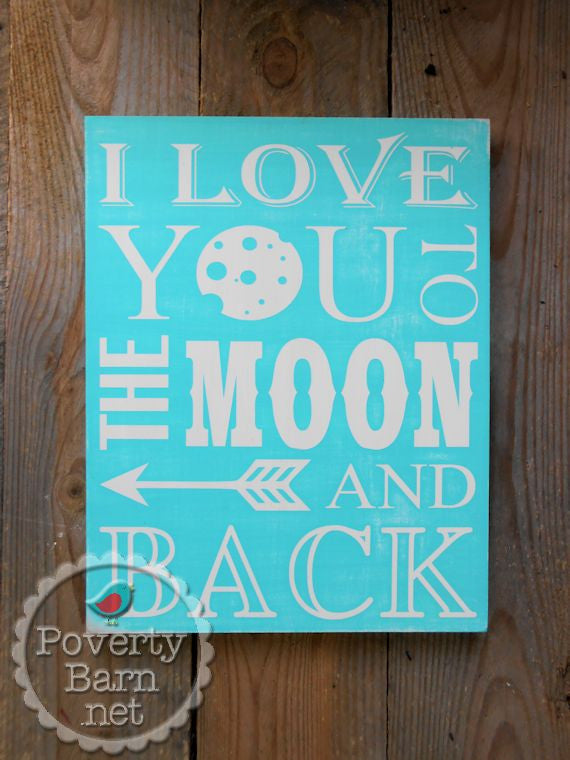 I Love You to the Moon and Back Hand Painted Wood Box Style Sign -Box Style Signs -PovertyBarn - 1