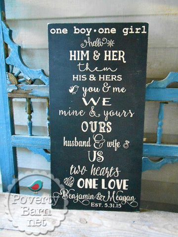 One Boy, One Girl Hand Painted Wood Box Style Sign Wedding Anniversary Personalized -Box Style Signs -PovertyBarn - 1