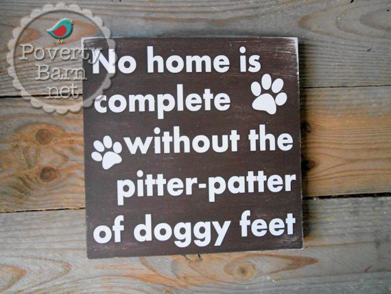 Pitter Patter of Doggy Feet Hand Painted Wood Box Style Sign -Box Style Signs -PovertyBarn - 1