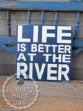 Life is Better on the River Hand Painted Wood Box Style Sign -Box Style Signs -PovertyBarn - 5