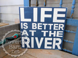 Life is Better on the River Hand Painted Wood Box Style Sign -Box Style Signs -PovertyBarn - 6