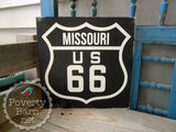 Route 66 Hand Painted Wood Box Style Sign -Box Style Signs -PovertyBarn - 4