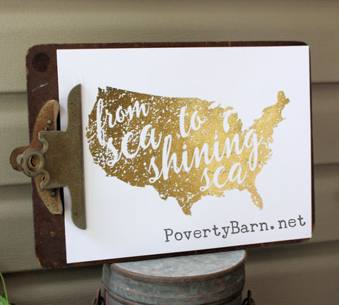 From Sea to Shining Sea Foil Print -Foil Print -PovertyBarn