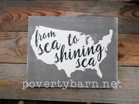 From Sea to Shining Sea Hand Painted Wood Box Style Sign -Box Style Signs -PovertyBarn - 1