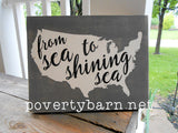 From Sea to Shining Sea Hand Painted Wood Box Style Sign -Box Style Signs -PovertyBarn - 3