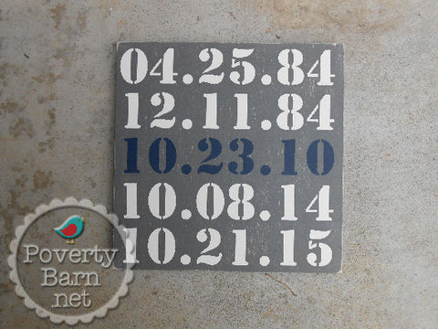Important Special Dates Hand Painted Wood Box Style Sign -Box Style Signs -PovertyBarn - 1